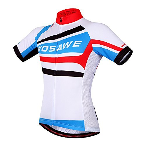 WOSAWE Mens Breathable Cycling Jersey Short Sleeves (Blue/White Jersey, XXL) - Kings White Jersey