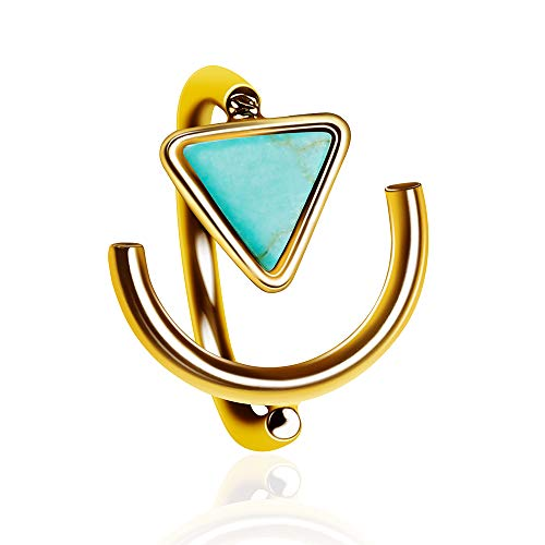 fomissky-sisa Simulated Turquoise Boho Adjustable Stacking Rings for Women Punk Style Triangle Arch Knuckle Finger Ring