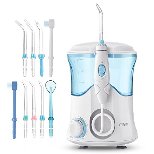 Cozzine Water Dental Flosser 600ml, Large Water Capacity Leak-Proof Electric Quiet Design with 9 Multifunctional Tips Countertop Dental Oral Irrigator for Home & Travel by Cozzine