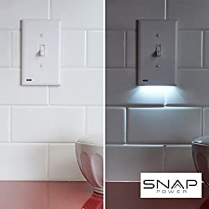 1 Pack – SnapPower SwitchLight – LED Night Light – For Light Switches – Light Switch Wall Plate With Built-In LED Night Lights – Bright/Dim/Off Options – Automatically On/Off Sensor – (Toggle, White)