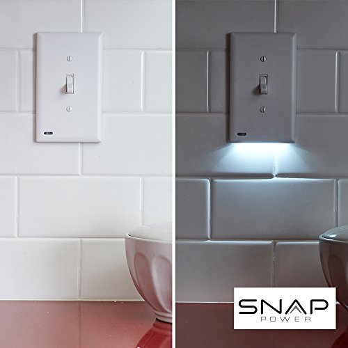2 Pack SnapPower SwitchLight - Light Switch Cover Plate With Built-In LED Night Light - Add Ambience Lighting To Your Home In Seconds - (Toggle, White)