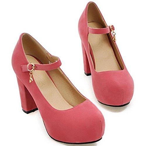 Mujer RAZAMAZA Zapatos Ancho Pink Tacon Para de nX7ZwxrX