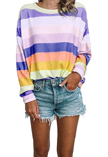 QUEENIE VISCONTI Women Long Sleeve Tops - Oversized Rainbow Striped Tunics Blouses T Shirt Pullover Sweatshirt S by QUEENIE VISCONTI