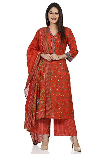 (BIBA Women's Red Cotton Salwar Kameez Dupatta Size 38)
