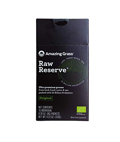 Amazing Grass, Raw Reserve Green Superfood Organic Powder with 25 Billion Probiotics, Wheat Grass and Greens, Flavor: Original, Box of 15 Individual Servings