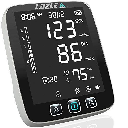 [All New 2019] Blood Pressure Monitor by LAZLE: Automatic Upper Arm Machine & Digital BP Cuff Kit - Largest Display - 200 Sets Memory, Includes Batteries, Carrying Case (Best Blood Pressure Monitor 2019)