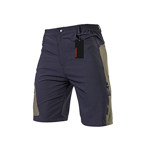 TOMSHOO Men's Baggy Cycling Shorts Breathable Loose-Fit Mountain Bike Shorts Outdoor Sports MTB Cycling Running Half Pants