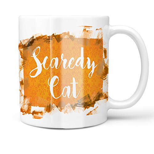 Neonblond 11oz Coffee Mug Scaredy Cat Halloween Orange Wallpaper with your Custom Name]()