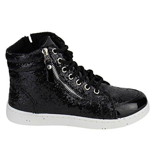 Forever Link Womens Hi Top Glitter Sneakers, Black 5.5