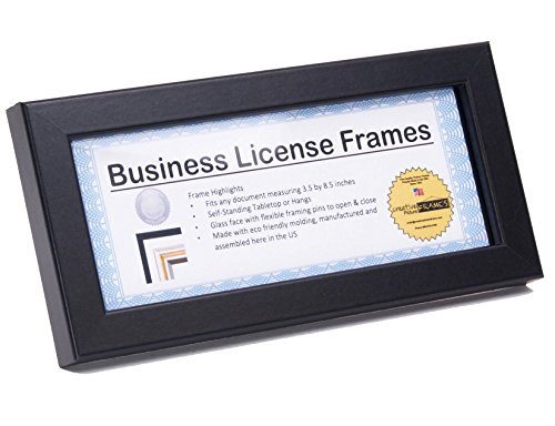 CreativePF [3.5x8.5bk] Professional Black Business License Certificate Frame, Holds 3.5 by 8.5 inch Media, Self-Standing with Wall Hanger