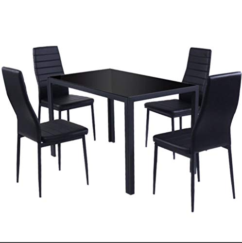 Simple Happyness 5-Pcs. Dinner Set Dining Table Chairs Home Kitchen Dining Hotel Restaurant Party Family Romantic Elegant Tempered Glass Top PU Leather Iron High Backrest Stable All Black Setof ()