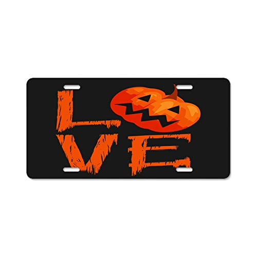 YEX Abstract Love Halloween Pumpkin Metal License Plate Frame Car Licence Plate Covers Auto Tag Holder 6