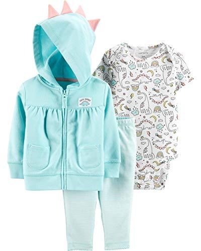 (Carter's Baby Girls' Cardigan Sets (Turquoise/Cutie-Saurus, Newborn))