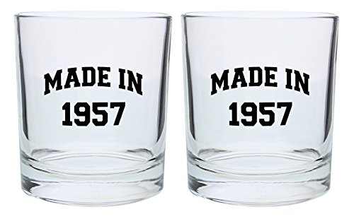 60th Birthday Gift Dad - 60th Birthday Gifts for Dad Mom Made in 1957 Funny 60th Birthday Party Supplies Gift Lowball Glasses 2-Pack Round Lowball Tumbler Set Black