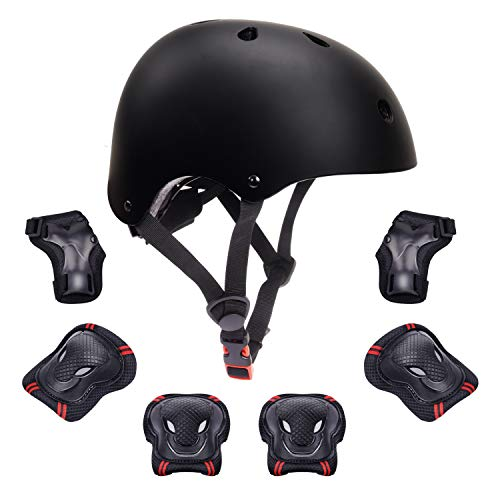 7Pcs Kids Protective Gear Set Kids Bike Helmet Knee Elbow Pads Wrist Guards Pads for 3-8 Years Boys...
