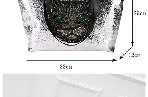 Large Capacity Cat Cute Leather Silver Sequins Pu Bag Shoulder Ladies Embroidered wq415WESE