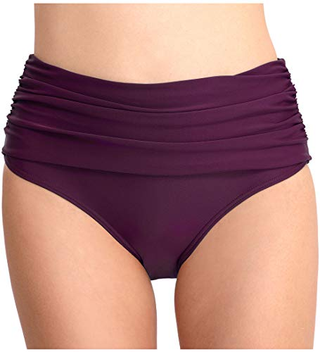 Micosuza Women's Swim Brief Shirred High Waist Full Coverage Bikini Bottom Purple ()
