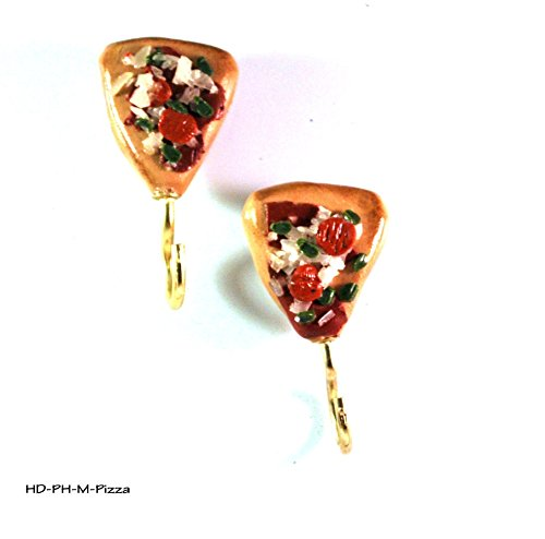 2 Pepperoni Pizza Refrigerator Magnets with Potholder Hooks