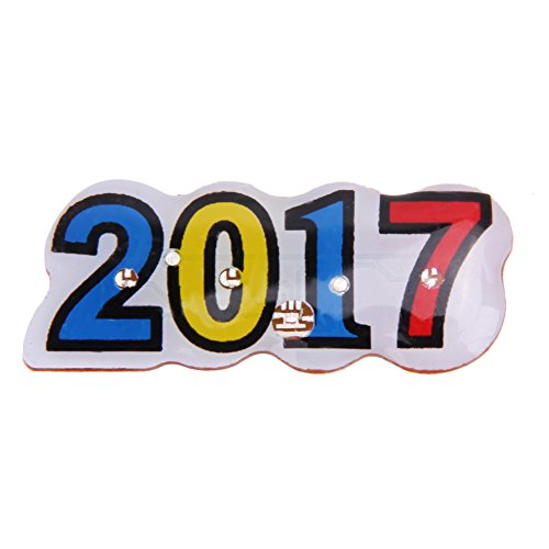 Asiproper 2017 Style LED Flashing Light Up Badge/Brooch Pins New Year