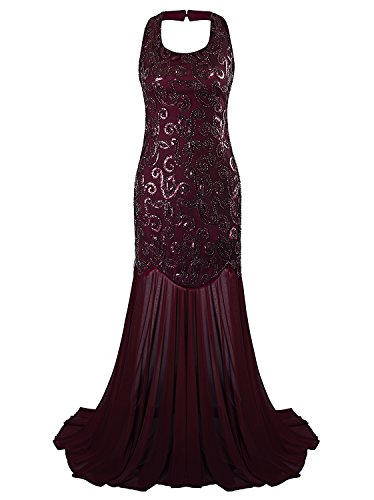 Vijiv 1920s Evening Dresses For Women Halter Mermaid Gatsby Long Prom Dress, Red, Large Sequins Halter Prom Formal Dress