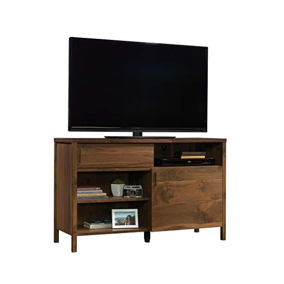 """Sauder Harvey Park TV Stand, For TV's up to 50"""", Grand Walnut finish - Accommodates up to a 50"""" TV weighing 70 lbs. or less for optimal viewing Sliding panel conceals cubbyhole storage to keep your clutter hidden Two adjustable shelves for flexible storage options - tv-stands, living-room-furniture, living-room - 41Bp JYX0bL. SS570  -"""