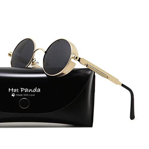 Round Polarized Steampunk Sunglasses Gothic John Lennon Sunglasses For Men And Women (Gold & Clear Grey, - Lennon John Glasses Gold