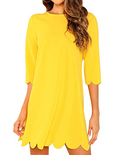 (Milumia Women's Casual 3/4 Sleeves Round Neck Solid Scallop Tunic Dress Yellow S)