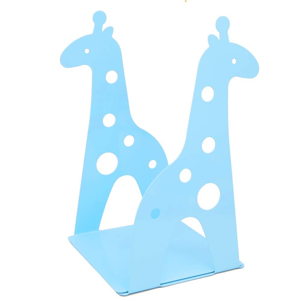 Blue Cute Cartoon Giraffe Shape Nonskid Metal Bookends for Kids Gift Decoration