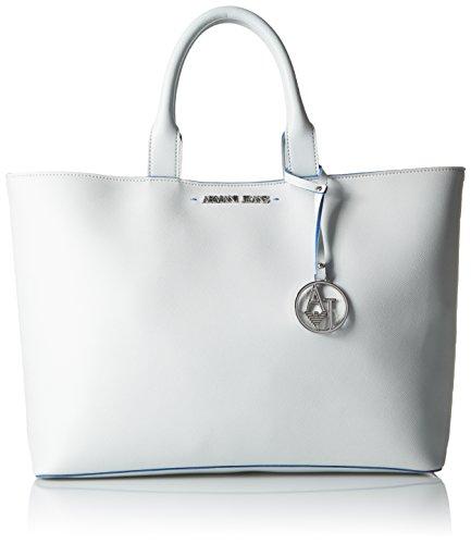 Armani Jeans Saffiano Color Trim Tote, White