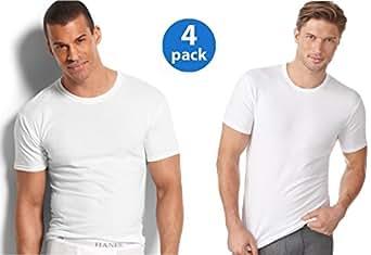 Hanes Men's 4Pack Crew Neck Tagless White Undershirts Crewneck T-Shirts, M