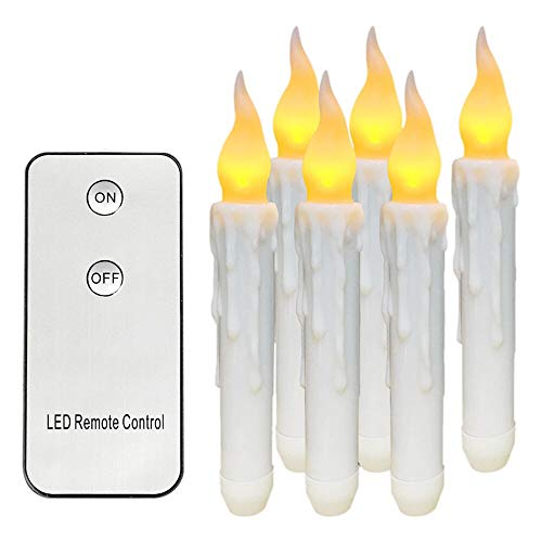 ️ Yu2d ❤️❤️ ️Remote Control Homemory 6PCS Battery Operated Flameless LED Taper Candles Lights -