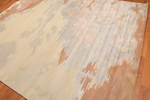 - 8'x10' Beige Taupe Tan, Grey, Ivory,Faded Peach, Multi Color Hand-Tufted Persian Oriental Area Rug Wool & Viscose Contemporary & Modern Abstract Modern Design Oriental Rug