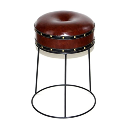 ch-AIR Stool Loft Retro Round Black Iron Frame Seat Creative Sofa Bar Chair Cafe Shop Decorative Leather Cover Stool Without Backrest 3547CM 0609A (Color : Wine red)