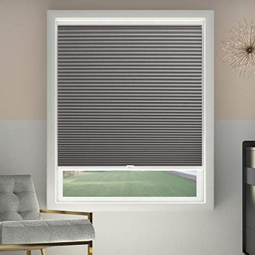 Cordless Cellular Shades Blackout Window Blinds Honeycomb Blinds Fabric 46x48 inch, Cool Silver(Blackout)