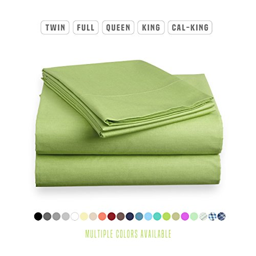 Luxe Bedding Sets - Microfiber Twin Sheet Set 3 Piece Bed Sheets, Deep Pocket Fitted Sheet, Flat Sheet, Pillow Case Twin Size - Lime Lime Green Sheet Set