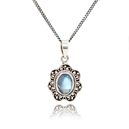 Luna Azure natural oval Moonstone and 925 sterling silver Vintage Style handmade unique pendant Necklace 18
