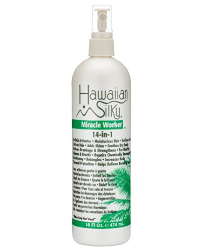 Hawaiian Silky 14-In-1 Leave In Keratin Oil Frizz-Free 16 oz Treatment - Jojoba Oil Enriched - Damaged Scalp Solution - for Color Treated Hair Men, Women and Kids ()