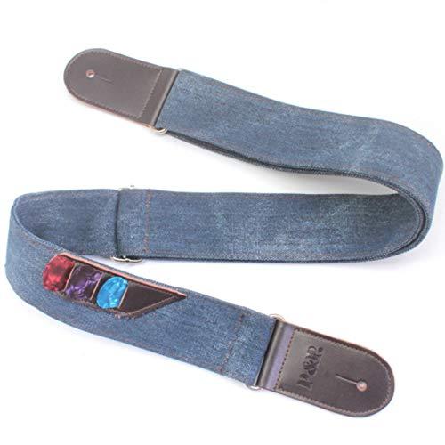 (Vintage Denim Leather Guitar Strap Adjustable Electric Guitar Shoulder Strap for Acoustic Guitar Musical Parts)