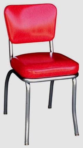 Richardson Seating Retro 1950s Chrome Diner Side Chair in Cracked Ice Red (Retro Seating)