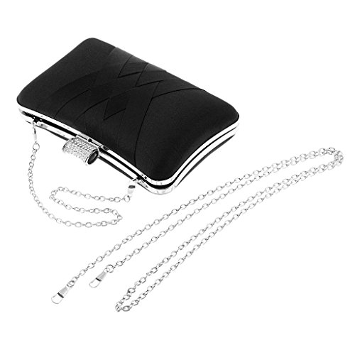 Wedding Purse Elegant Imitation Chain Evening Wallet Bag Gray Diamond Bag P Clutch Party Prettyia Black Shoulder Hand XwRPqCf7