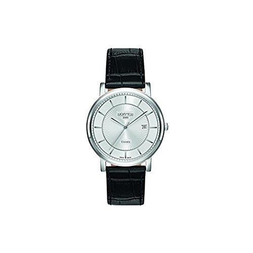 Roamer of Switzerland Men's 40mm Black Leather Band Steel Case Quartz Analog Watch 709856 41 17 07
