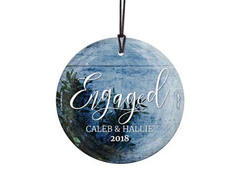 Suncatcher Personalized - Trend Setters First Christmas Engaged Ornament – Frosty Blue Personalized – Suncatcher Hanging Glass Collectible