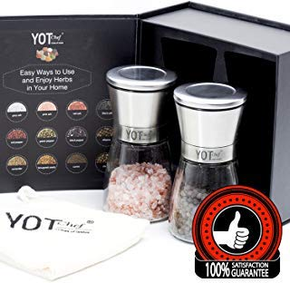 Salt and Pepper Grinder Set - Adjustable Pepper Grinder, Spice Grinder, Salt Grinder – Ceramic Salt and Pepper Shakers – Great Gift for the Foodie, Home Cook, or Pro Chef by YOT Chef