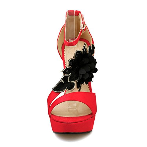 COOLCEPT Mujer Western Elegant Tacon Alto Ankle Strap Sandalias With Flor Rojo