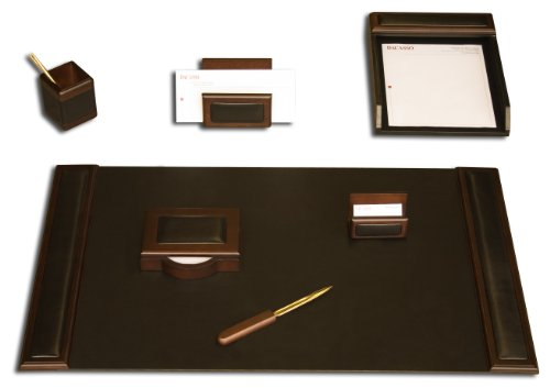 Dacasso Walnut and Leather Desk Set, 7-Piece by Dacasso
