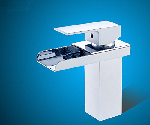 Good quality Antique Basin Sink Mixer Tap Copper hot and cold basin single hole waterfall faucet white gold