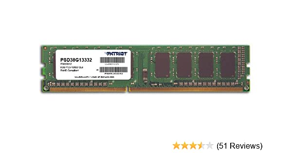 Patriot PSD38G13332 Signature 8GB CL9 PC3-10600 1333MHz DIMM 8 DDR3 1333 Computer Internal Memory