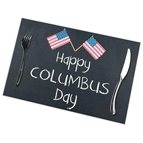 Juego de 6 manteles individuales para mesa de comedor de Columbus Day Holiday 2018, de poliester lavable de 12 x 18 cm, resistentes al calor para decoracion de mesa de comedor, pvc, 1 color, 4 piezas