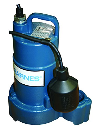 Barnes 112550 Model SP33AX Submersible Cast Iron Sump Pump - 1/3 HP, 3,000 GPH, 20' Cord, Piggy Back Mechanical Float Switch, For Residential Use
