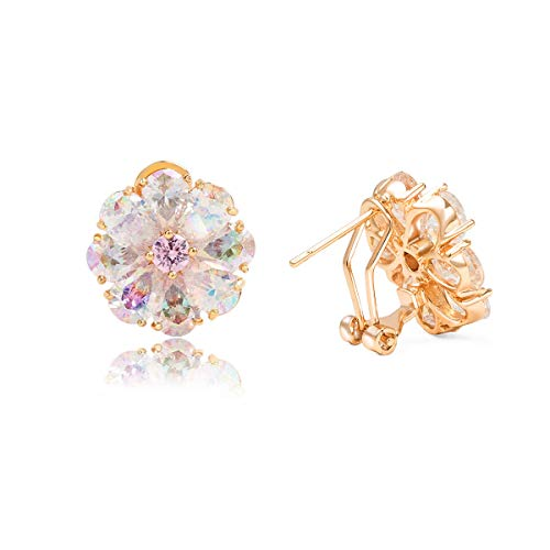 Clip On Earrings for Women - Cubic Zirconia Stud Earrings 18K Rose Gold Plated Multicoloured Flower 1.33CT, Best for Girls Gifts and Daily Wear